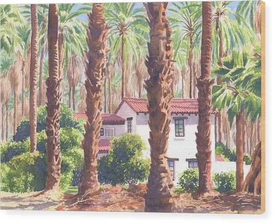 House Among Date Palms In Indio Wood Print