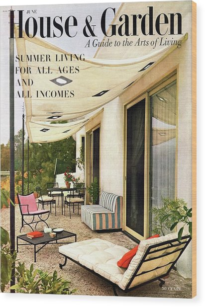 House And Garden Cover Of A Furnished Patio Wood Print