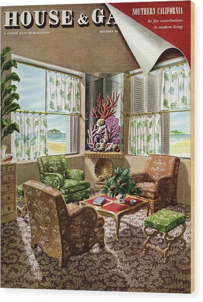 House And Garden Issue About Southern California Wood Print