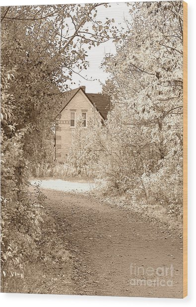 House In Autumn Wood Print
