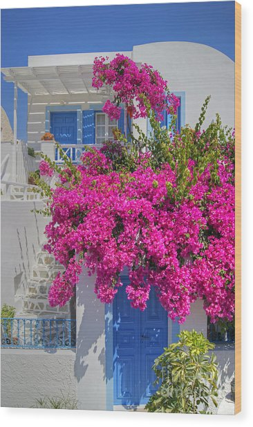 House Of Bougainvillea Wood Print