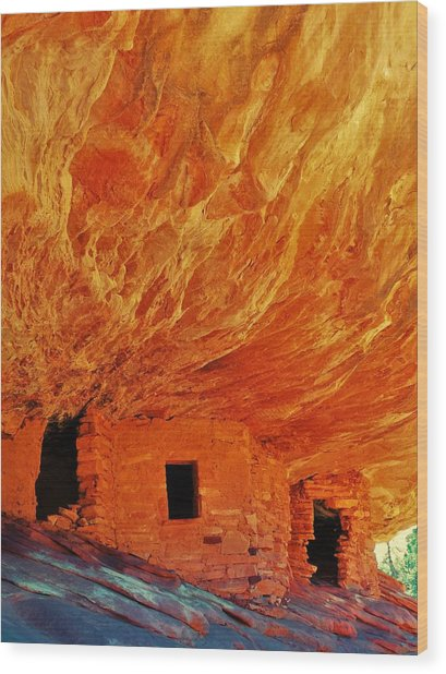 House On Fire Wood Print