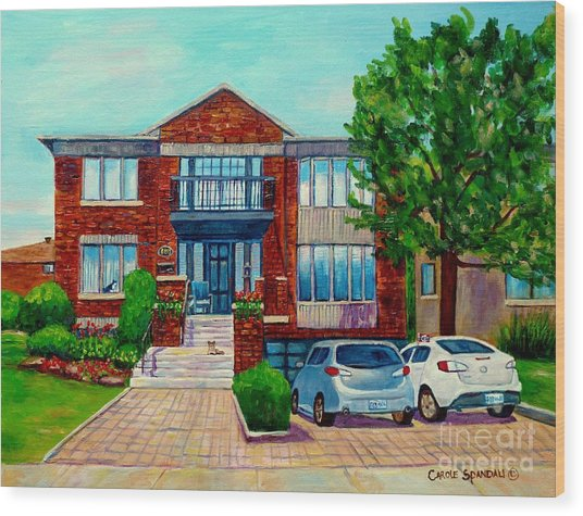 House Portrait-house  Art-commissioned  Montreal Paintings-carole Spandau Wood Print