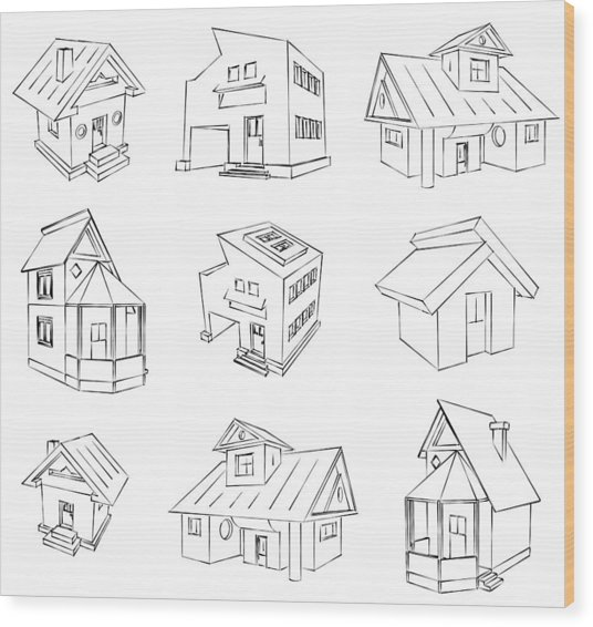 House Sketch Set Wood Print by Ioan Panaite