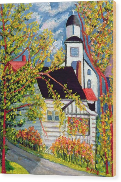 House With Church Badeck Wood Print