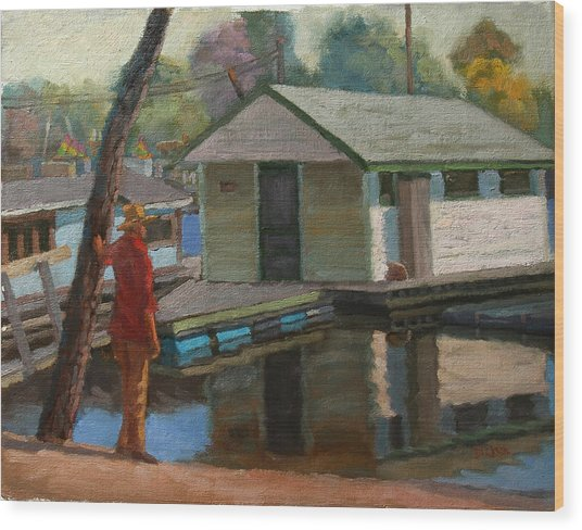 Houseboat On The Mississippi Wood Print