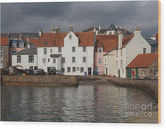 Houses At Pittenweem Harbor Wood Print