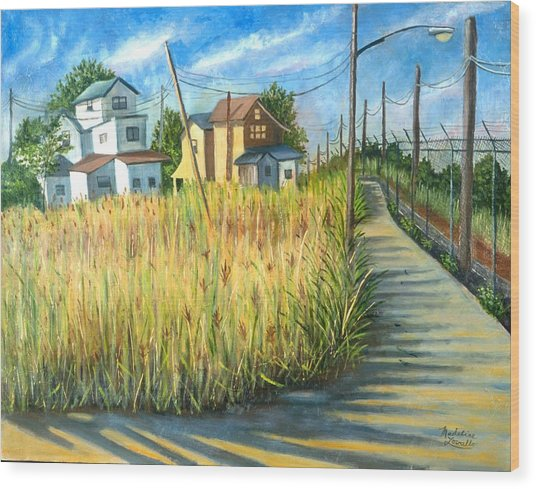 Houses In The Weeds Wood Print