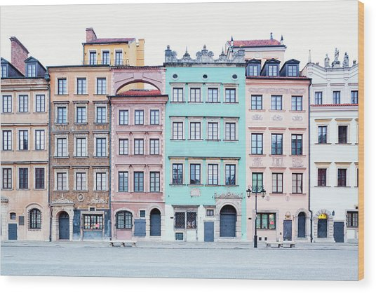 Houses On Old Town Market Place Wood Print by Jorg Greuel