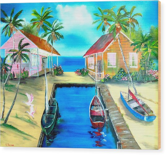 Houses On The Canal Wood Print