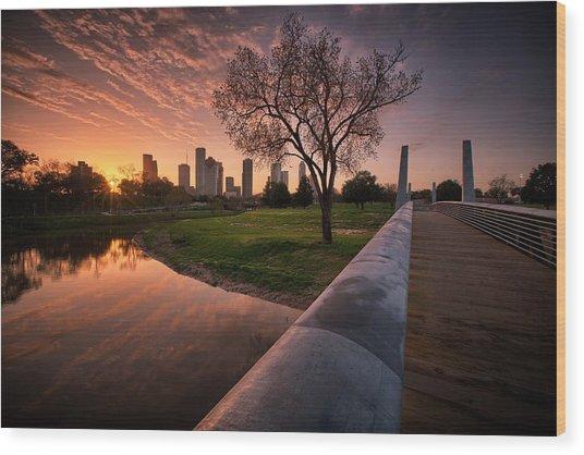 Houston Dawn Wood Print
