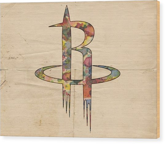Houston Rockets Logo Art Wood Print