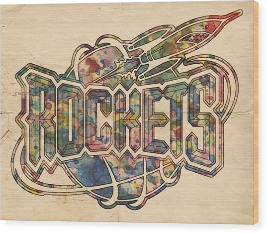 Houston Rockets Retro Poster Wood Print