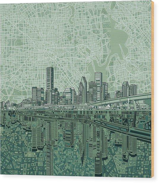 Houston Skyline Abstract 2 Wood Print
