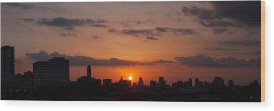 Houston Skyline At Sunset Wood Print
