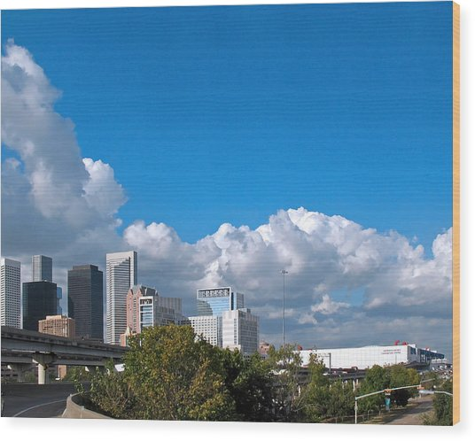 Houston Skyline Southeast Wood Print