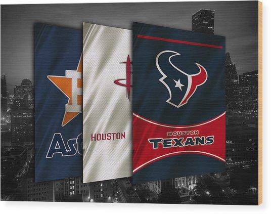 Houston Sports Teams Wood Print