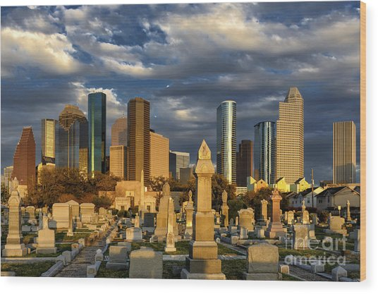 Houston Sunset Skyline Wood Print