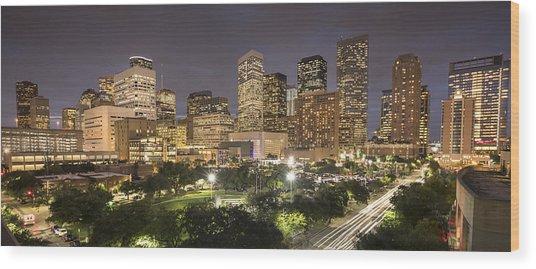 Houston Texas Skyline Panorama Wood Print by Pgiam