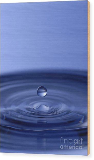 Hovering Blue Water Drop Wood Print
