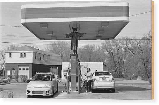 How Do You Pump Gas Wood Print by Chris Luechung