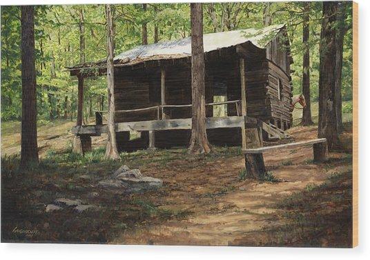 Howell Log Cabin - Hartshorn Wood Print