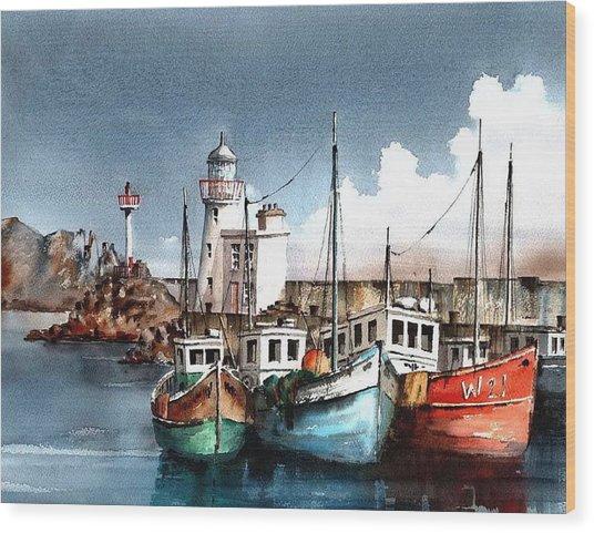Howth Trawlers Wood Print