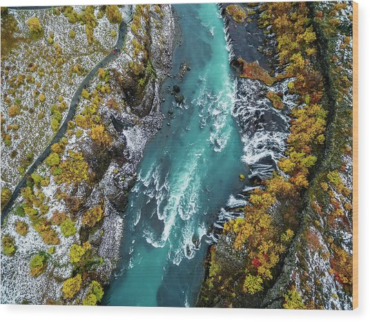 Hraunfossar, Waterfall, Iceland Wood Print by Arctic-images