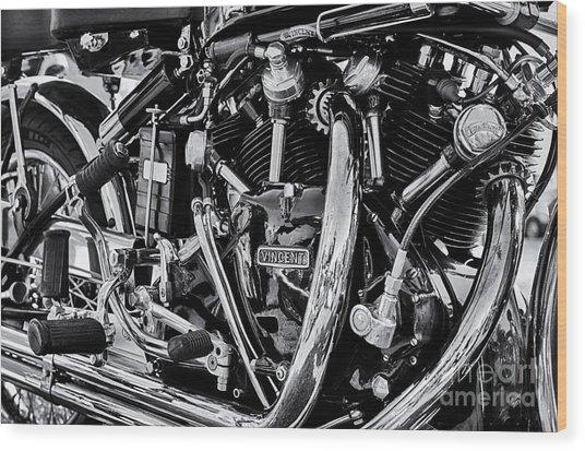 Hrd Vincent Motorcycle Engine Wood Print