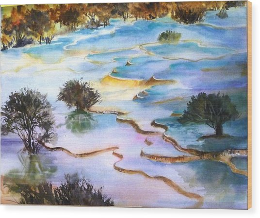 Huanglong Splendour Wood Print