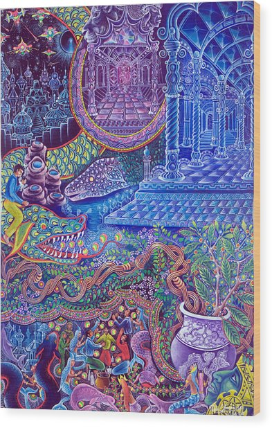 Wood Print featuring the painting Huasi Yachana by Pablo Amaringo