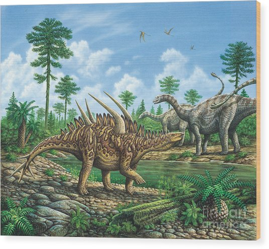 Huayangosaurus And Shunosaurus Wood Print by Phil Wilson