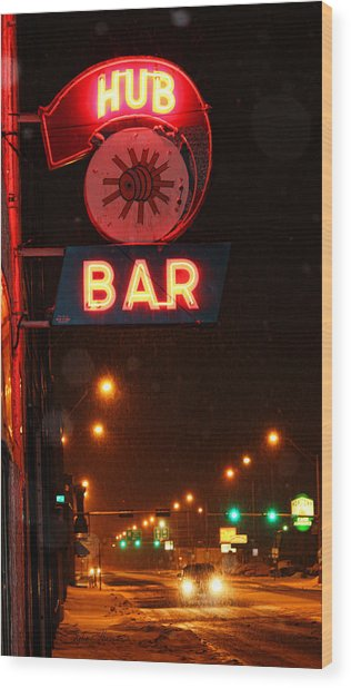 Hub Bar Snowy Night Wood Print