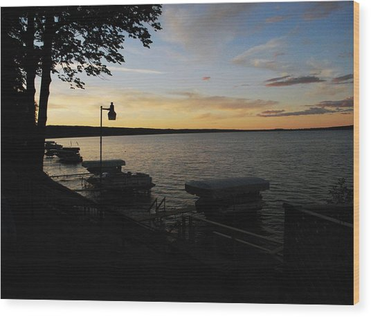 Hubbard Lake Sunset Wood Print
