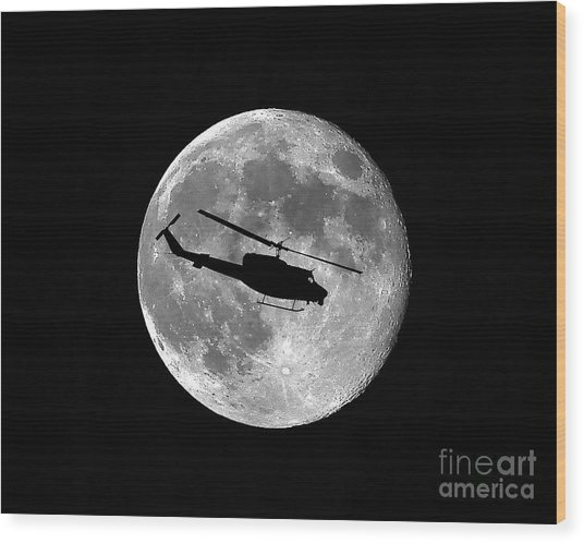 Huey Moon Wood Print