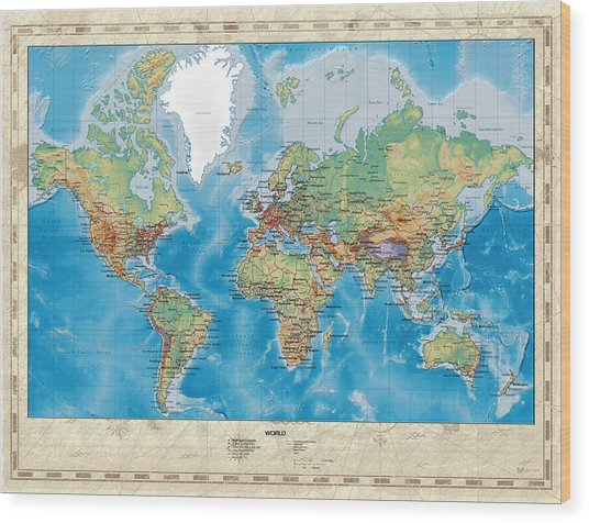 Huge Hi Res Mercator Projection Physical And Political Relief World Map Wood Print