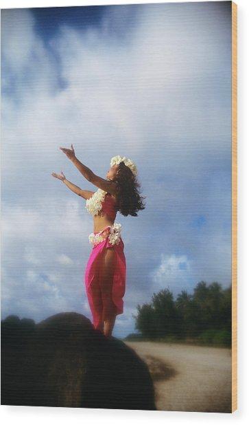 Hula Dancer Hawaii Wood Print