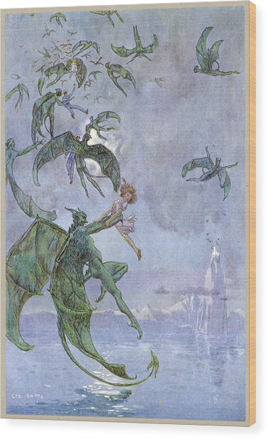 Humans Abducted By Winged Demons Wood Print
