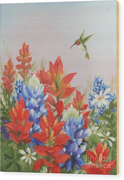Humming Bird In Wildflowers Wood Print