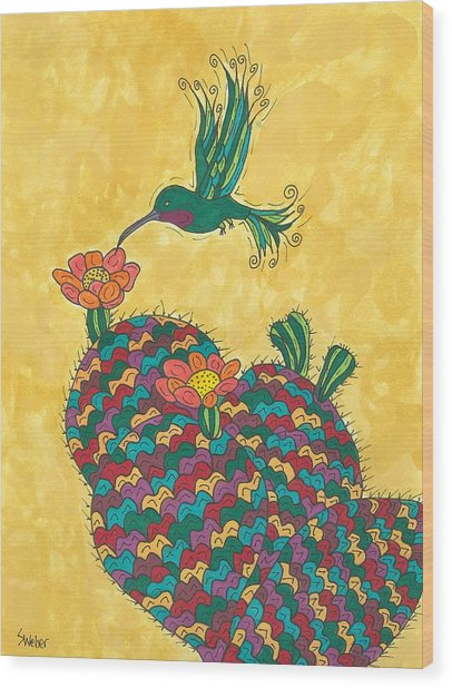 Hummingbird And Prickly Pear Wood Print