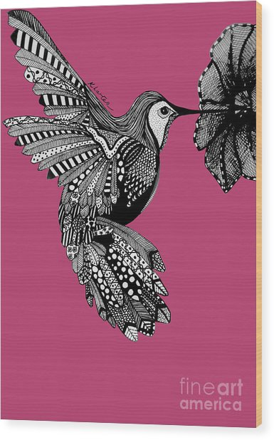 Hummingbird Flight 5 Wood Print by Karen Larter
