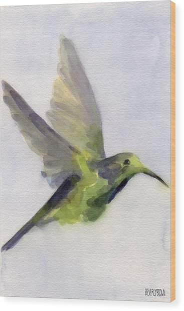 Hummingbird Watercolor Bird Painting Wood Print