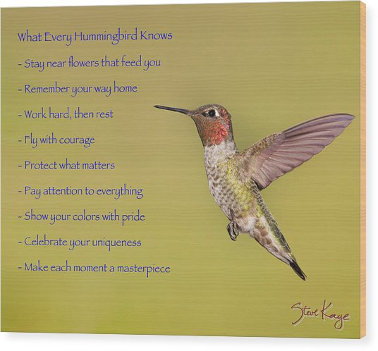 Hummingbird Wisdom Wood Print