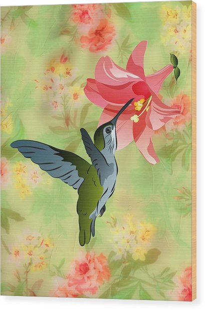 Hummingbird With Pink Lily Against Floral Fabric Wood Print