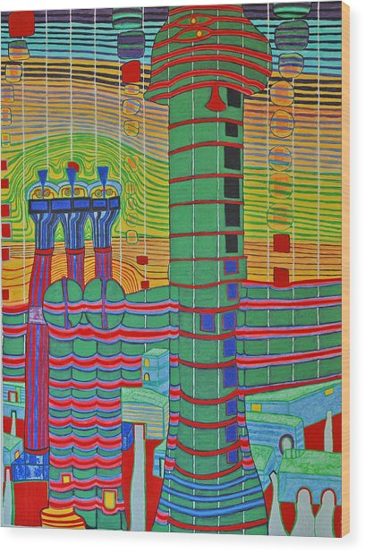Hundertwasser Das Ende Griechenlands In 3d By J.j.b. Wood Print