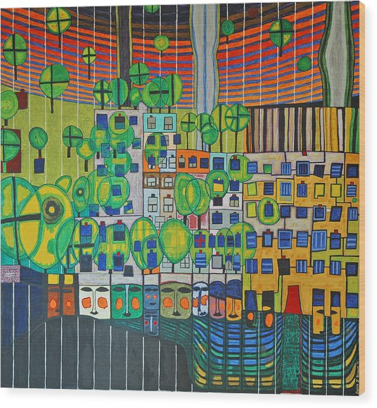 Hundertwasser The Three Skins In 3d By J.j.b. Wood Print