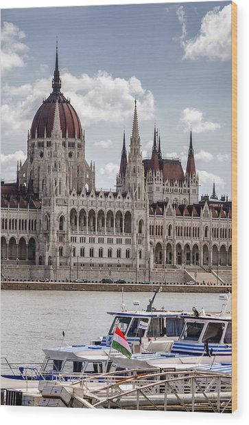 Hungarian Parliament Across The Danube Wood Print