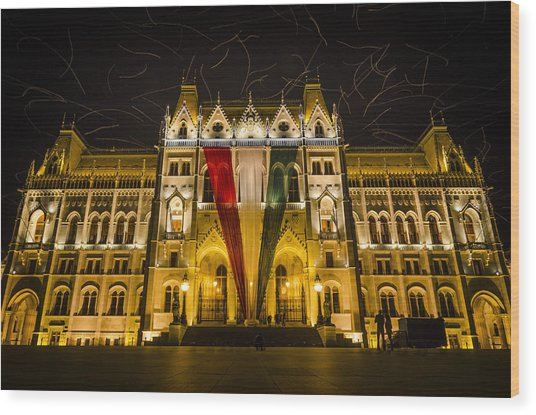 Hungarian Parliament At Night Wood Print