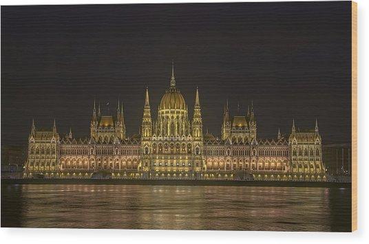 Hungarian Parliament Building Night Wood Print
