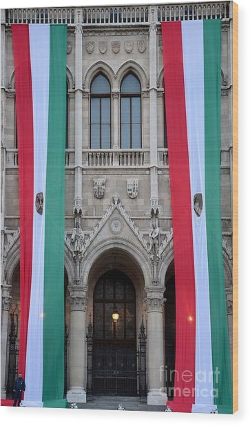 Hungary Flag Hanging At Parliament Budapest Wood Print